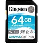 Kingston SDXC Card 64GB Canvas Go! Plus U3 170R 70W 4K