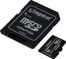 Kingston microSDXC Card 64GB Class10 U1 100MB Canvas Select Plus incl. adapter